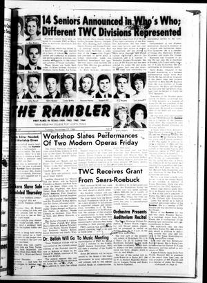 Primary view of object titled 'The Rambler (Fort Worth, Tex.), Vol. 37, No. 09, Ed. 1 Tuesday, November 17, 1964'.