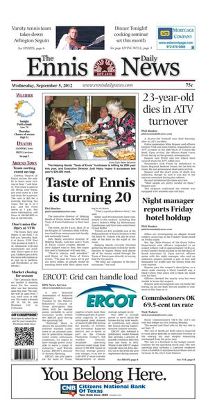 Primary view of object titled 'The Ennis Daily News (Ennis, Tex.), Ed. 1 Wednesday, September 5, 2012'.