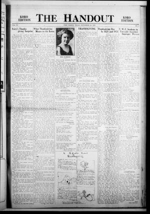 The Handout (Fort Worth, Tex.), Vol. 6, No. 4, Ed. 1 Thursday, November 24, 1921