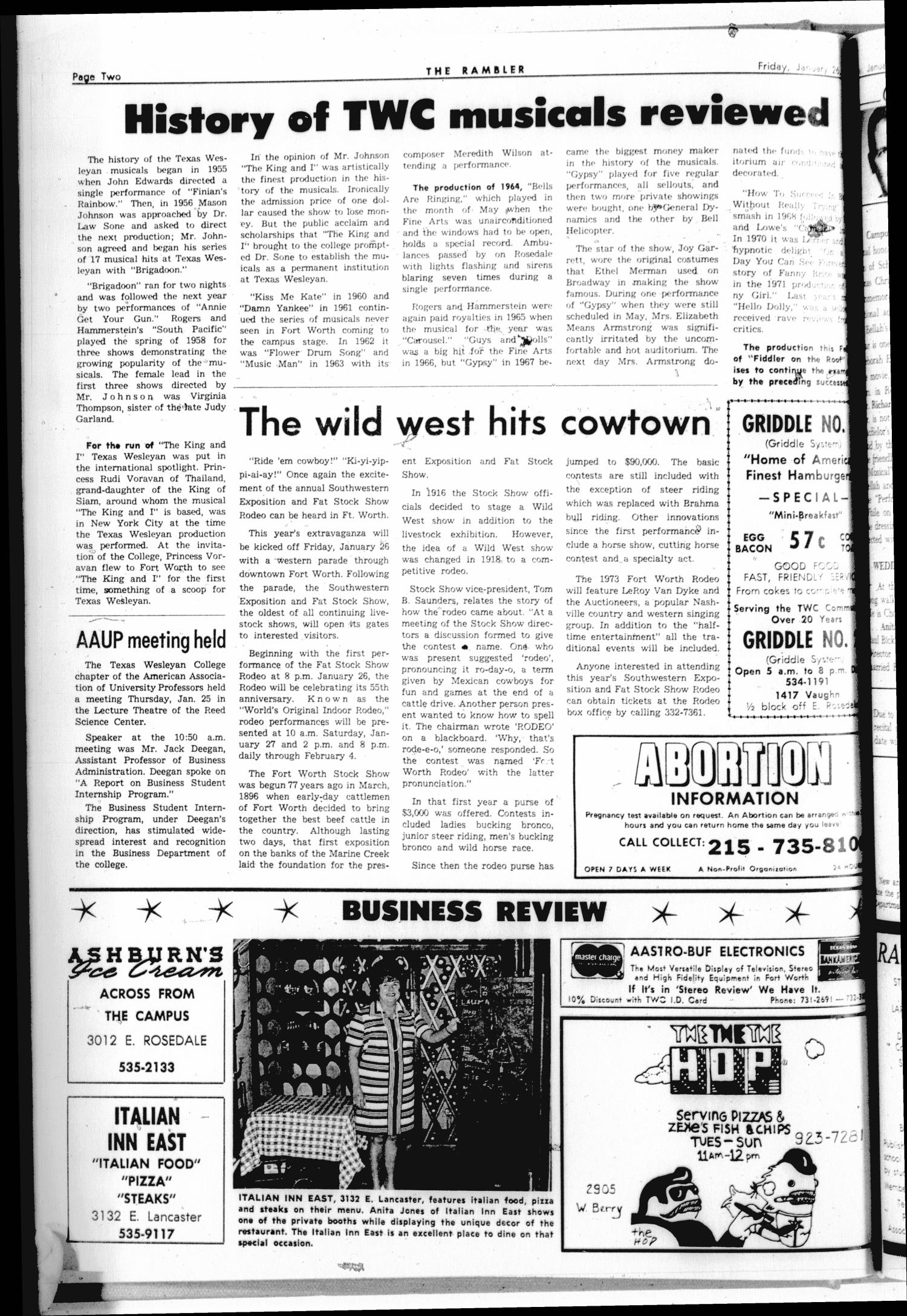 Rambler (Fort Worth, Tex.), Vol. 47, No. 18, Ed. 1 Friday, January 26, 1973                                                                                                      [Sequence #]: 2 of 6