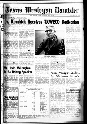 Primary view of object titled 'Texas Wesleyan Rambler (Fort Worth, Tex.), Vol. 46, No. 27, Ed. 1 Friday, April 28, 1972'.