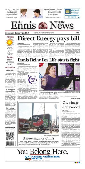 Primary view of object titled 'The Ennis Daily News (Ennis, Tex.), Ed. 1 Wednesday, January 23, 2013'.