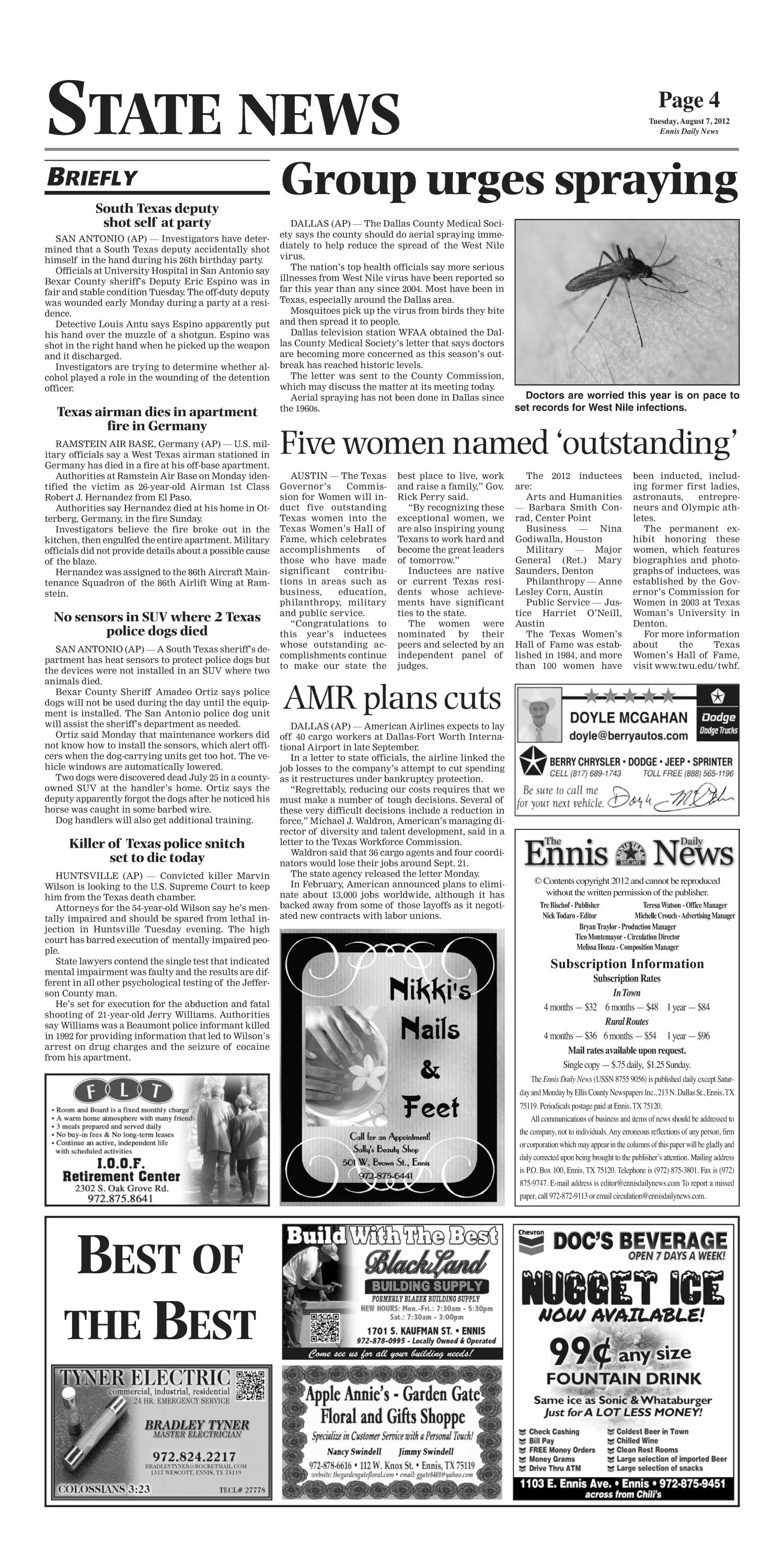 The Ennis Daily News (Ennis, Tex.), Ed. 1 Tuesday, August 7, 2012                                                                                                      [Sequence #]: 4 of 8