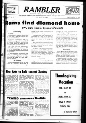 Primary view of object titled 'Rambler (Fort Worth, Tex.), Vol. 47, No. 13, Ed. 1 Friday, November 17, 1972'.