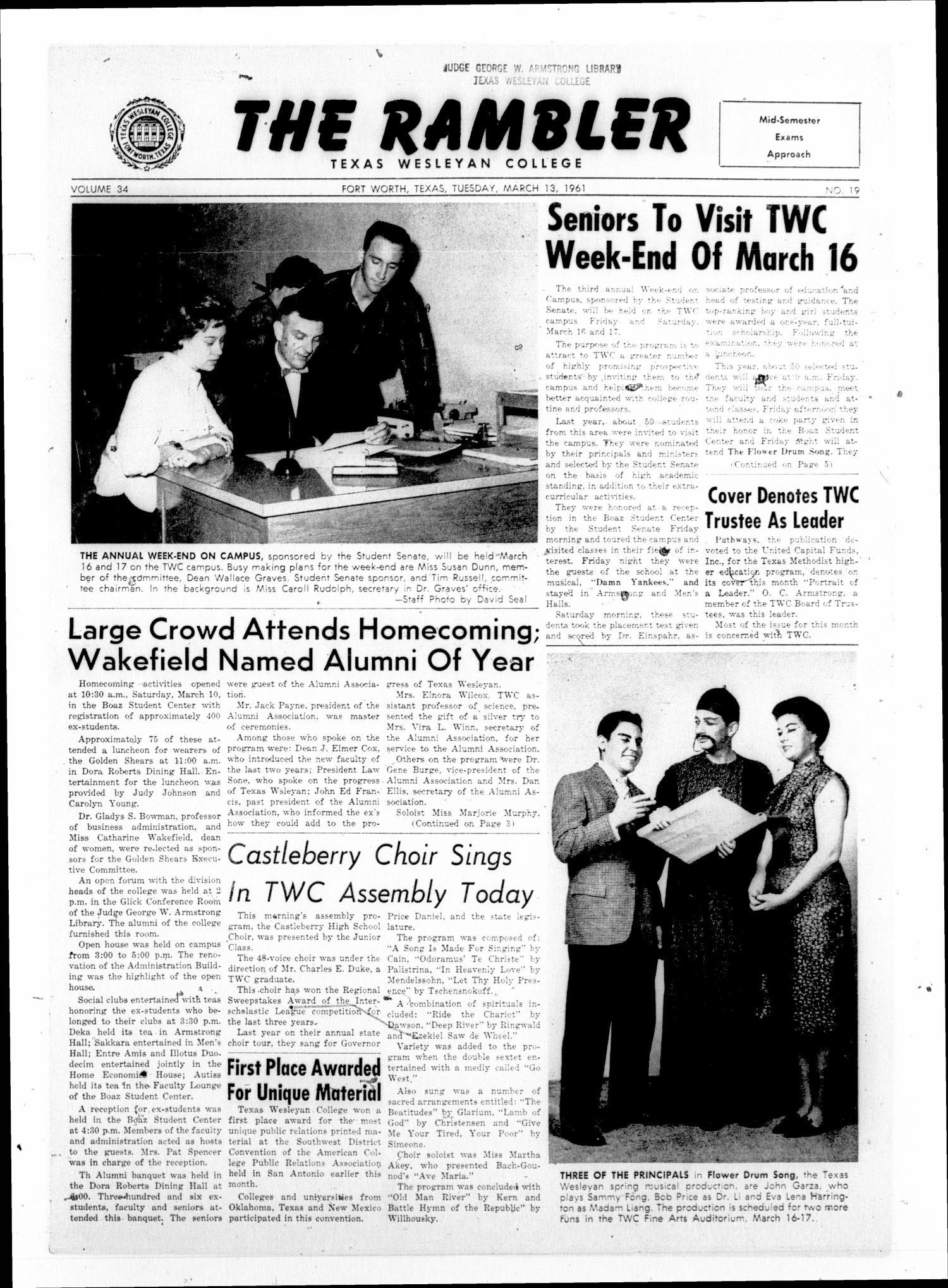 The Rambler (Fort Worth, Tex.), Vol. 34, No. 19, Ed. 1 Tuesday, March 13, 1962                                                                                                      [Sequence #]: 1 of 6