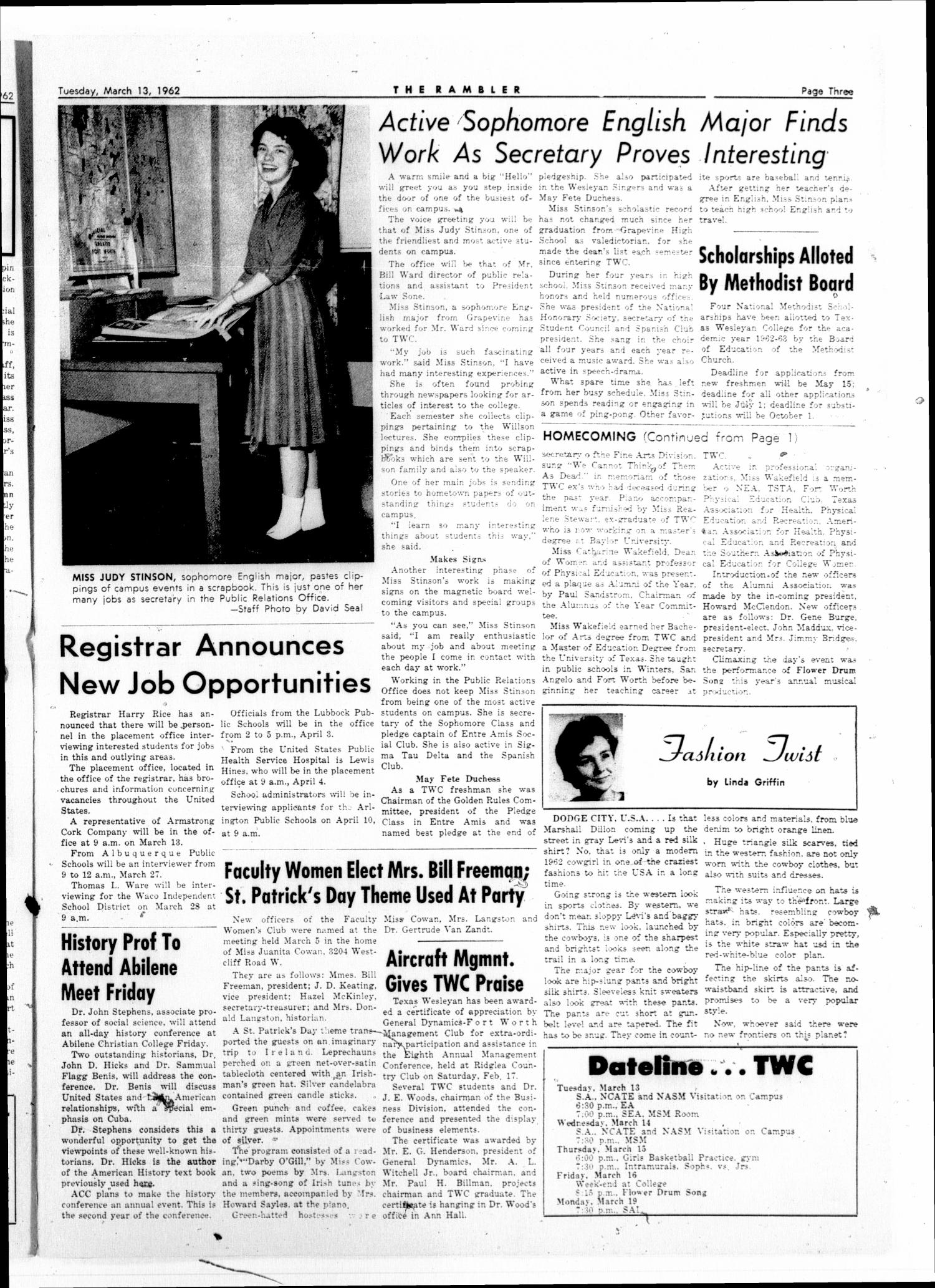 The Rambler (Fort Worth, Tex.), Vol. 34, No. 19, Ed. 1 Tuesday, March 13, 1962                                                                                                      [Sequence #]: 3 of 6