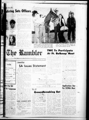 Primary view of object titled 'Texas Wesleyan Rambler (Fort Worth, Tex.), Vol. 44, No. 5, Ed. 1 Wednesday, October 15, 1969'.