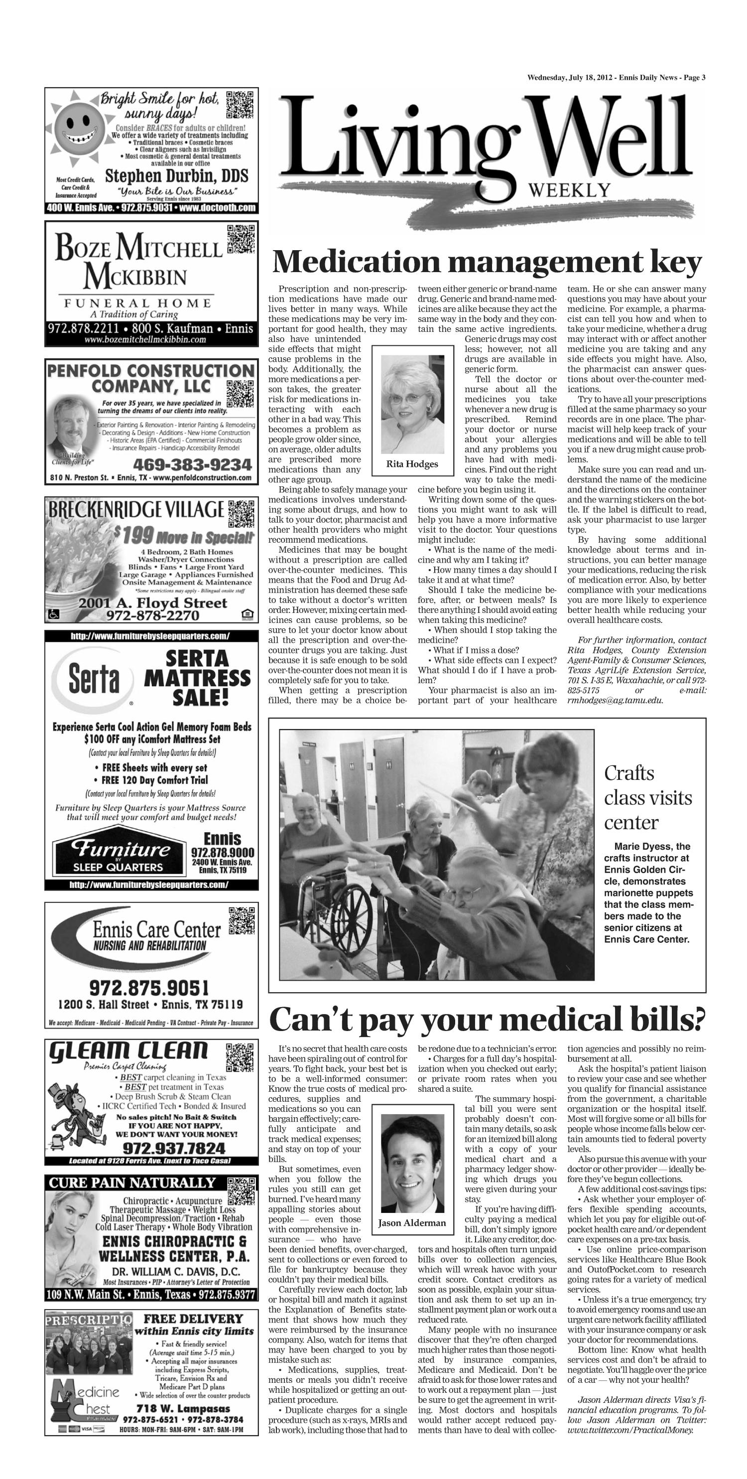 The Ennis Daily News (Ennis, Tex.), Ed. 1 Wednesday, July 18, 2012                                                                                                      [Sequence #]: 3 of 8