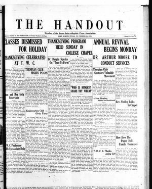 The Handout (Fort Worth, Tex.), Vol. 9, No. 10, Ed. 1 Friday, November 30, 1923