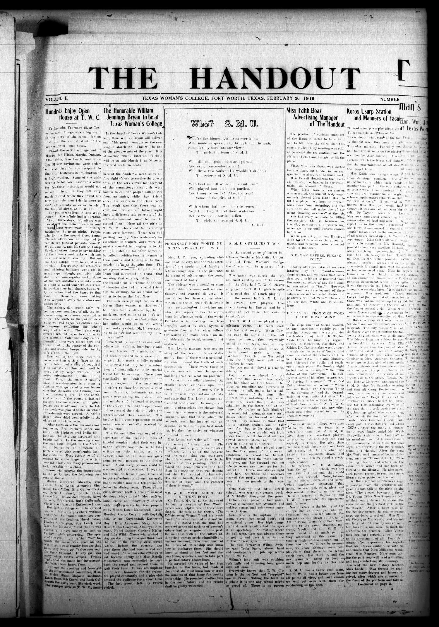 The Handout (Fort Worth, Tex.), Vol. 2, No. [9], Ed. 1 Tuesday, February 26, 1918                                                                                                      [Sequence #]: 1 of 4