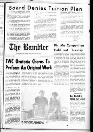 Primary view of object titled 'Texas Wesleyan Rambler (Fort Worth, Tex.), Vol. 45, No. 26, Ed. 1 Wednesday, May 5, 1971'.