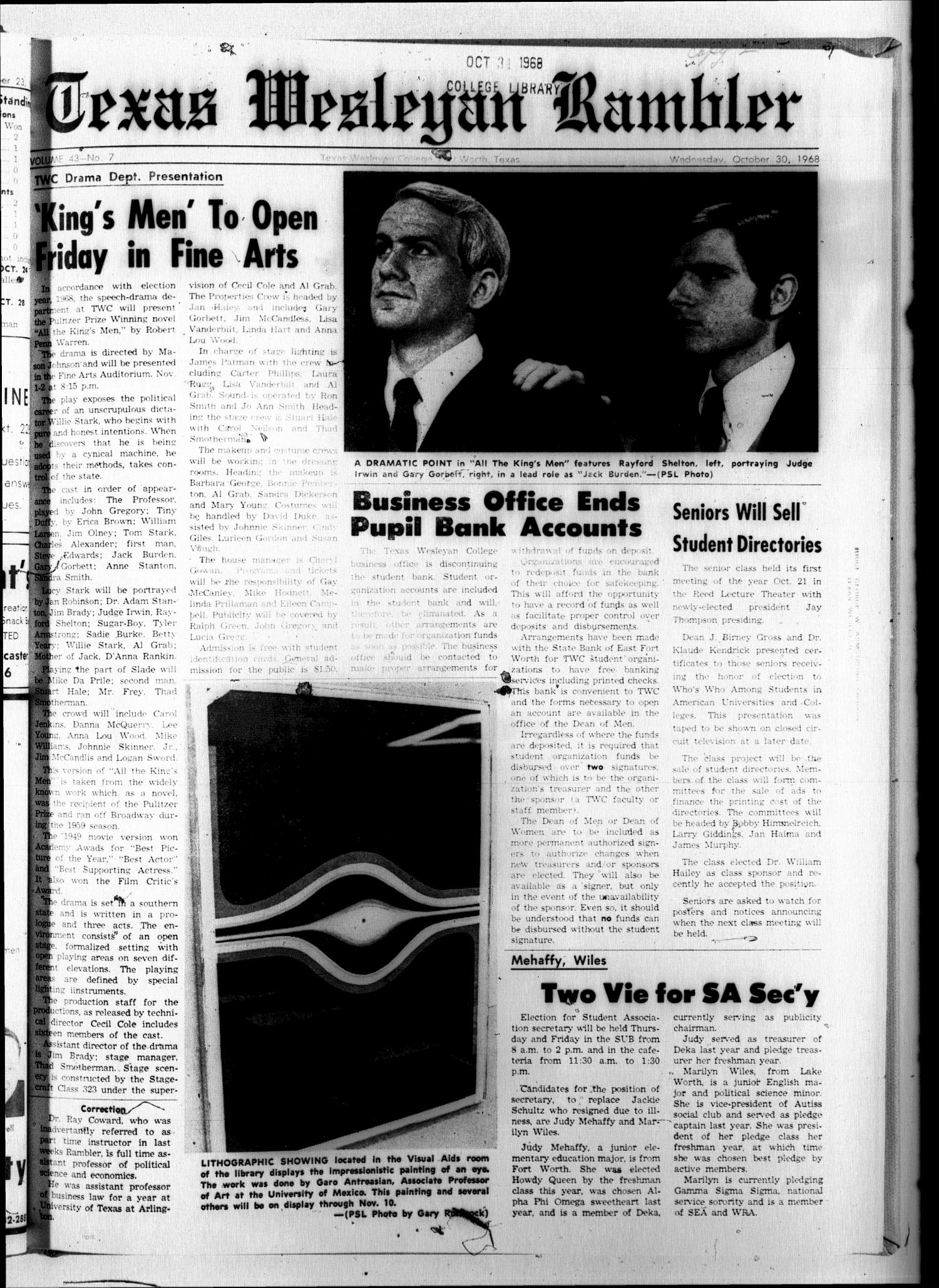 The Rambler (Fort Worth, Tex.), Vol. 43, No. 7, Ed. 1 Wednesday, October 30, 1968                                                                                                      [Sequence #]: 1 of 6