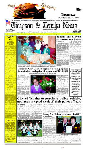 Primary view of object titled 'Timpson & Tenaha News (Timpson, Tex.), Vol. 21, No. 47, Ed. 1 Thursday, November 23, 2006'.