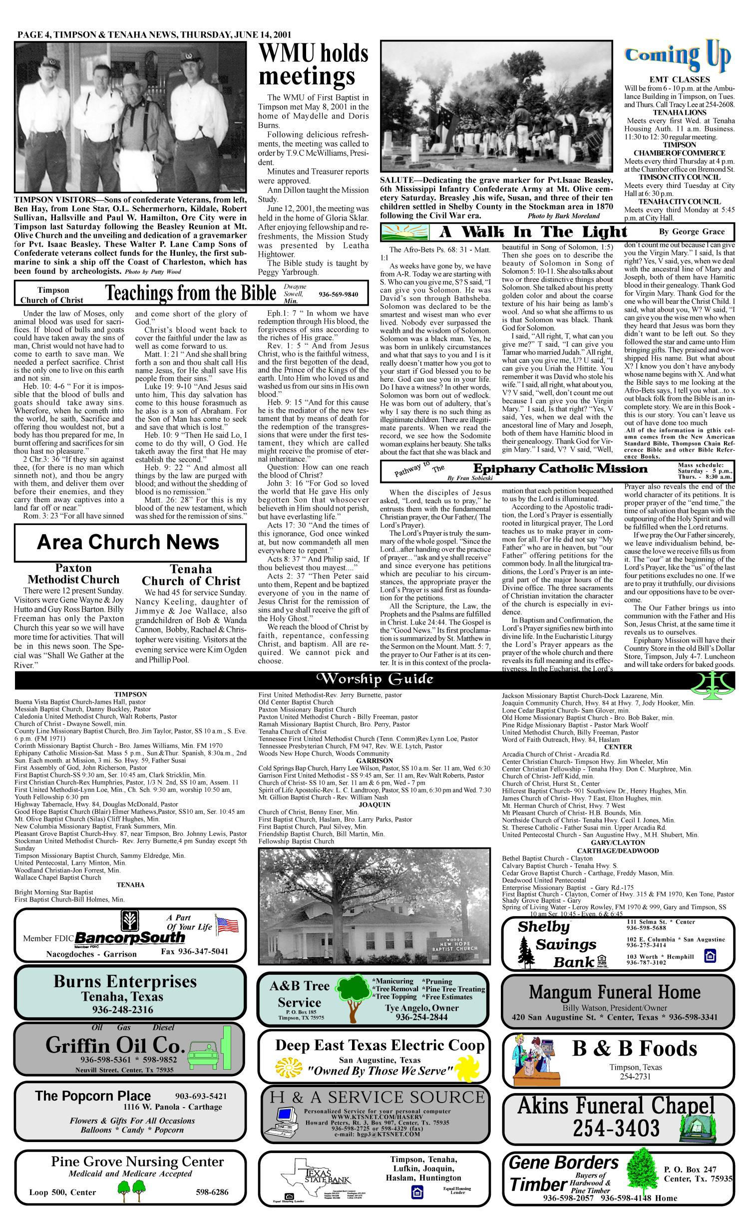 Timpson & Tenaha News (Timpson, Tex.), Vol. 16, No. 24, Ed. 1 Thursday, June 14, 2001                                                                                                      [Sequence #]: 4 of 10