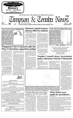 Primary view of object titled 'Timpson & Tenaha News (Timpson, Tex.), Vol. 16, No. 03, Ed. 1 Thursday, January 18, 2001'.