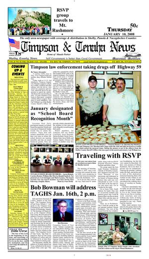 Primary view of object titled 'Timpson & Tenaha News (Timpson, Tex.), Vol. 26, No. 2, Ed. 1 Thursday, January 10, 2008'.