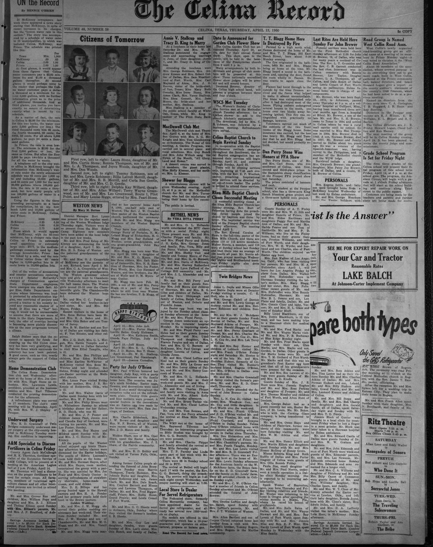 The Celina Record (Celina, Tex.), Vol. 48, No. 38, Ed. 1 Thursday, April 13, 1950 - Page 1 of 4 - The Portal to Texas History