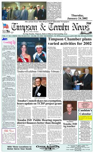 Primary view of object titled 'Timpson & Tenaha News (Timpson, Tex.), Vol. 17, No. 04, Ed. 1 Thursday, January 24, 2002'.