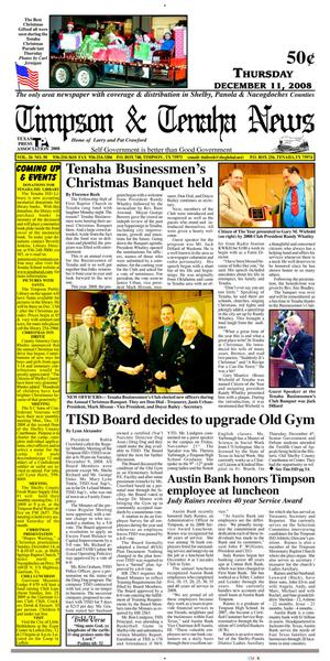 Primary view of object titled 'Timpson & Tenaha News (Timpson, Tex.), Vol. 26, No. 50, Ed. 1 Thursday, December 11, 2008'.