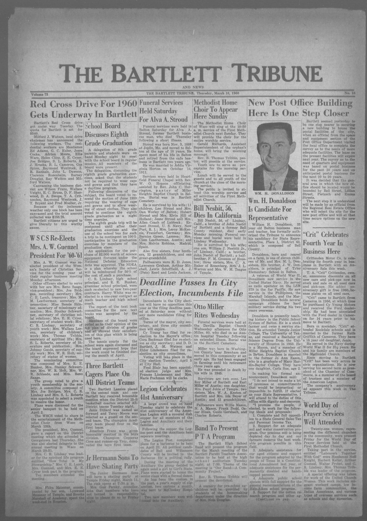 The Bartlett Tribune and News (Bartlett, Tex.), Vol. 73, No. 18, Ed. 1, Thursday, March 10, 1960                                                                                                      [Sequence #]: 1 of 6