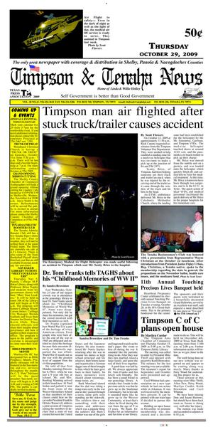 Primary view of object titled 'Timpson & Tenaha News (Timpson, Tex.), Vol. 28, No. 42, Ed. 1 Thursday, October 29, 2009'.