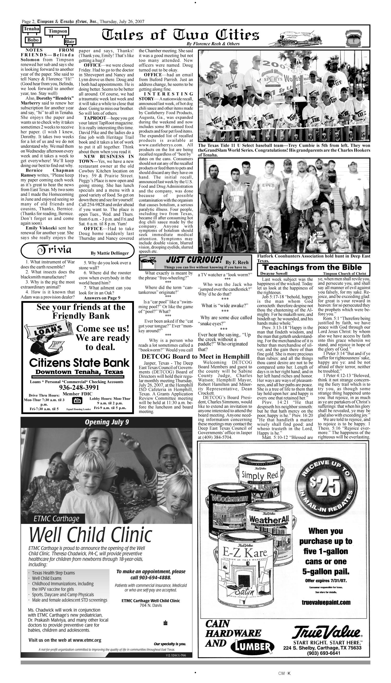 Timpson & Tenaha News (Timpson, Tex.), Vol. 25, No. 30, Ed. 1 Thursday, July 26, 2007                                                                                                      [Sequence #]: 2 of 10
