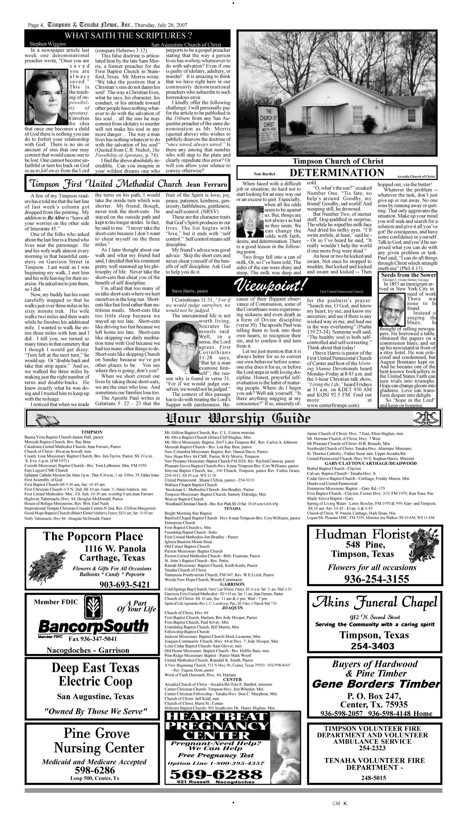 Timpson & Tenaha News (Timpson, Tex.), Vol. 25, No. 30, Ed. 1 Thursday, July 26, 2007                                                                                                      [Sequence #]: 4 of 10