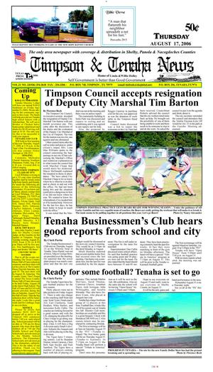 Primary view of object titled 'Timpson & Tenaha News (Timpson, Tex.), Vol. 21, No. 33, Ed. 1 Thursday, August 17, 2006'.