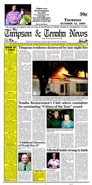 Primary view of object titled 'Timpson & Tenaha News (Timpson, Tex.), Vol. 28, No. 41, Ed. 1 Thursday, October 15, 2009'.