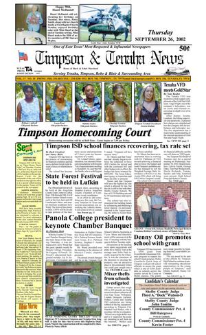 Primary view of object titled 'Timpson & Tenaha News (Timpson, Tex.), Vol. 17, No. 39, Ed. 1 Thursday, September 26, 2002'.