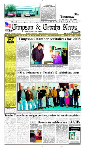Primary view of object titled 'Timpson & Tenaha News (Timpson, Tex.), Vol. 26, No. 4, Ed. 1 Thursday, January 24, 2008'.