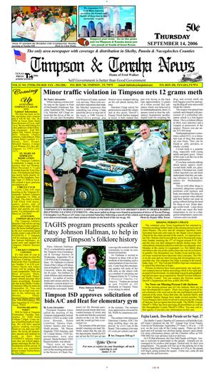 Primary view of object titled 'Timpson & Tenaha News (Timpson, Tex.), Vol. 21, No. 37, Ed. 1 Thursday, September 14, 2006'.