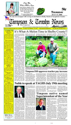 Primary view of object titled 'Timpson & Tenaha News (Timpson, Tex.), Vol. 21, No. 28, Ed. 1 Thursday, July 13, 2006'.