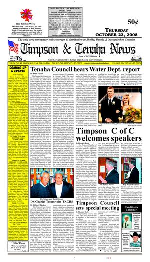 Primary view of object titled 'Timpson & Tenaha News (Timpson, Tex.), Vol. 26, No. 43, Ed. 1 Thursday, October 23, 2008'.