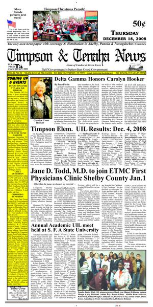 Primary view of object titled 'Timpson & Tenaha News (Timpson, Tex.), Vol. 26, No. 50, Ed. 1 Thursday, December 18, 2008'.