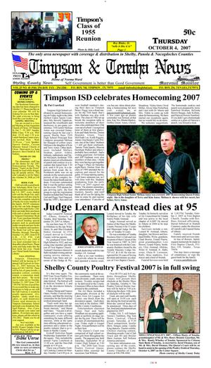 Primary view of object titled 'Timpson & Tenaha News (Timpson, Tex.), Vol. 22, No. 40, Ed. 1 Thursday, October 4, 2007'.