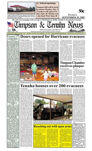 Primary view of object titled 'Timpson & Tenaha News (Timpson, Tex.), Vol. 20, No. 39, Ed. 1 Thursday, September 29, 2005'.