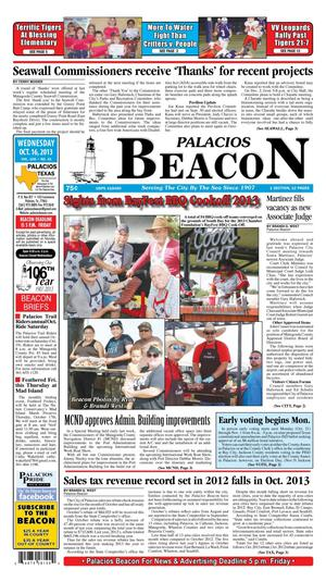 Palacios Beacon (Palacios, Tex.), Vol. 106, No. 42, Ed. 1 Wednesday, October 16, 2013