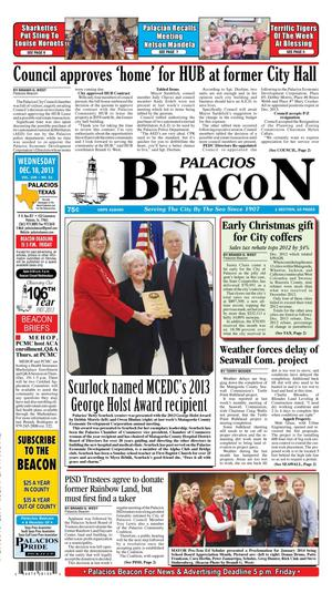Primary view of object titled 'Palacios Beacon (Palacios, Tex.), Vol. 106, No. 51, Ed. 1 Wednesday, December 18, 2013'.