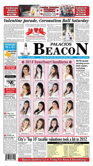 Primary view of object titled 'Palacios Beacon (Palacios, Tex.), Vol. 106, No. 5, Ed. 1 Wednesday, February 6, 2013'.