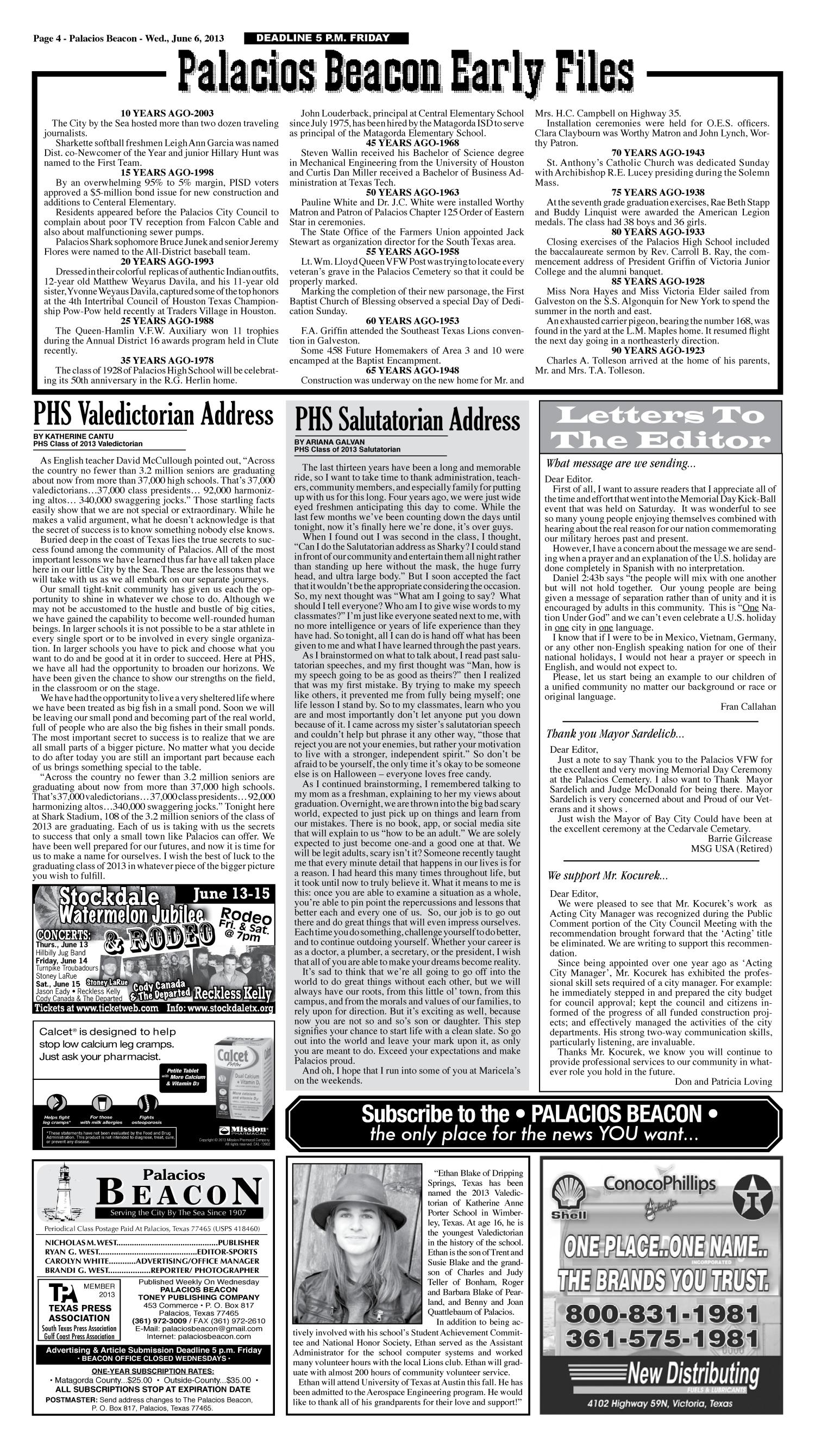 Palacios Beacon (Palacios, Tex.), Vol. 106, No. 23, Ed. 1 Wednesday, June 5, 2013                                                                                                      [Sequence #]: 4 of 10