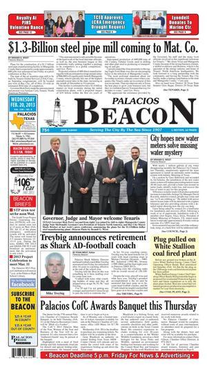 Palacios Beacon (Palacios, Tex.), Vol. 106, No. 7, Ed. 1 Wednesday, February 20, 2013