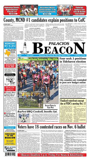 Palacios Beacon (Palacios, Tex.), Vol. 105, No. 41, Ed. 1 Wednesday, October 10, 2012