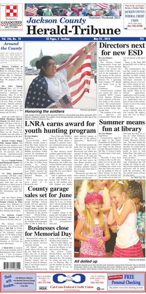 Jackson County Herald-Tribune (Edna, Tex.), Vol. 106, No. 25, Ed. 1 Wednesday, May 22, 2013