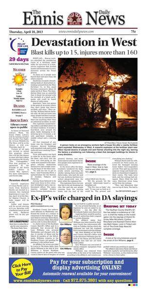 Primary view of object titled 'The Ennis Daily News (Ennis, Tex.), Ed. 1 Thursday, April 18, 2013'.