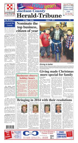 Jackson County Herald-Tribune (Edna, Tex.), Vol. 107, No. 6, Ed. 1 Wednesday, January 1, 2014