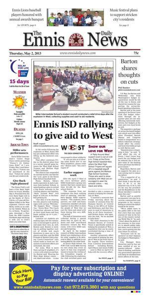 Primary view of object titled 'The Ennis Daily News (Ennis, Tex.), Ed. 1 Thursday, May 2, 2013'.