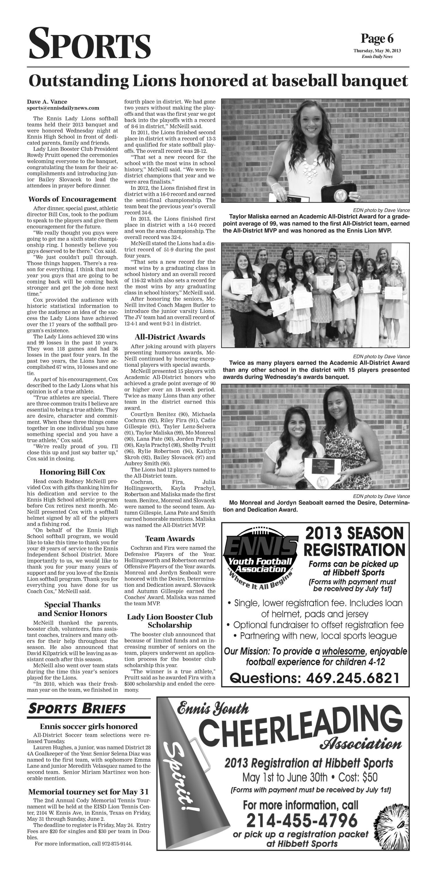 The Ennis Daily News (Ennis, Tex.), Ed. 1 Thursday, May 30, 2013 ...