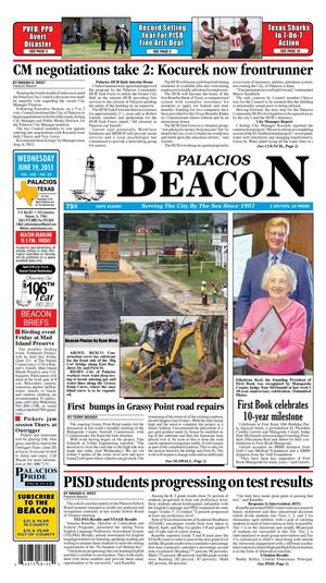 Primary view of object titled 'Palacios Beacon (Palacios, Tex.), Vol. 106, No. 25, Ed. 1 Wednesday, June 19, 2013'.