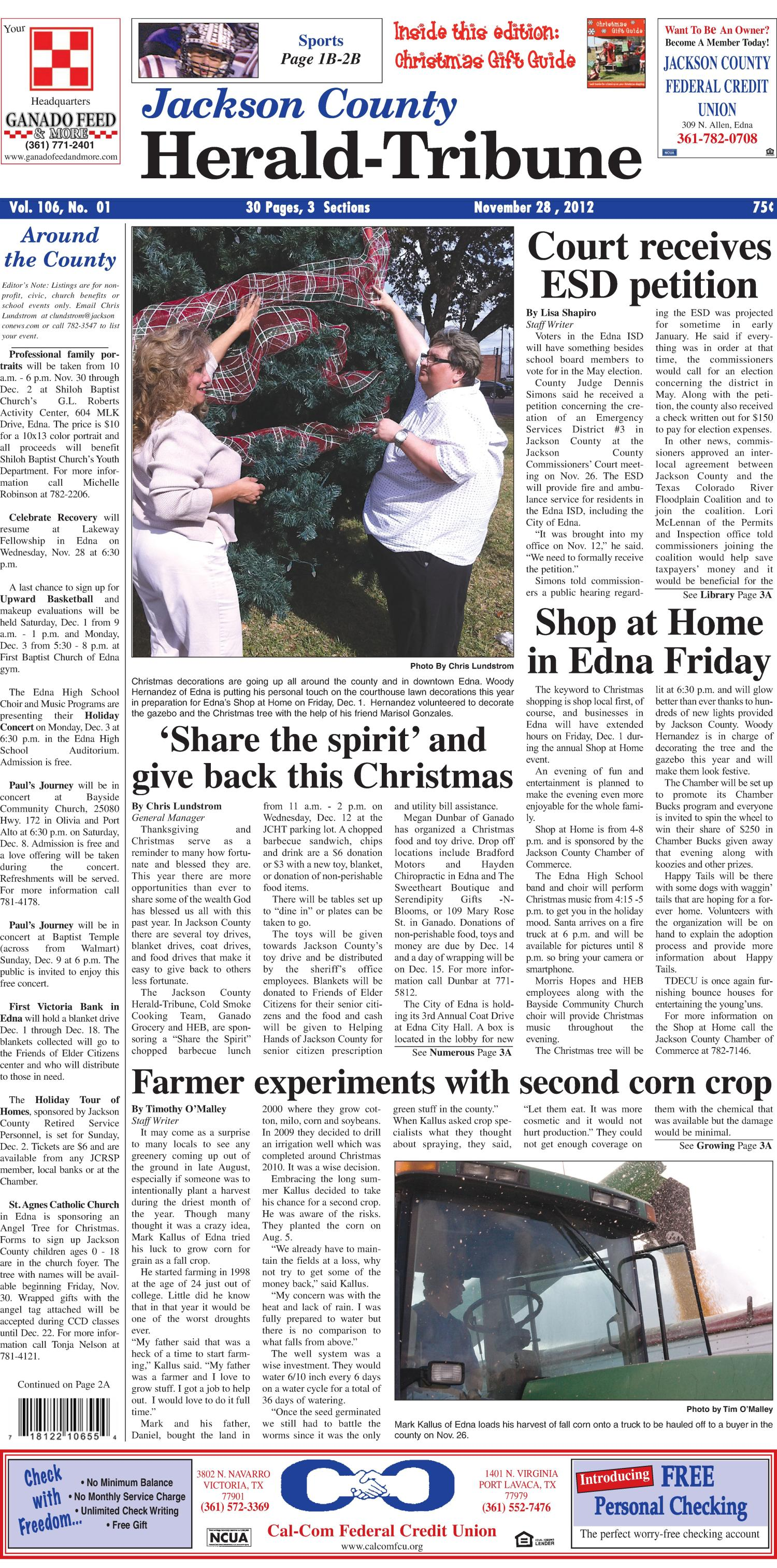 Jackson County Herald-Tribune (Edna, Tex.), Vol. 106, No. 1, Ed. 1 Wednesday, November 28, 2012                                                                                                      [Sequence #]: 1 of 28